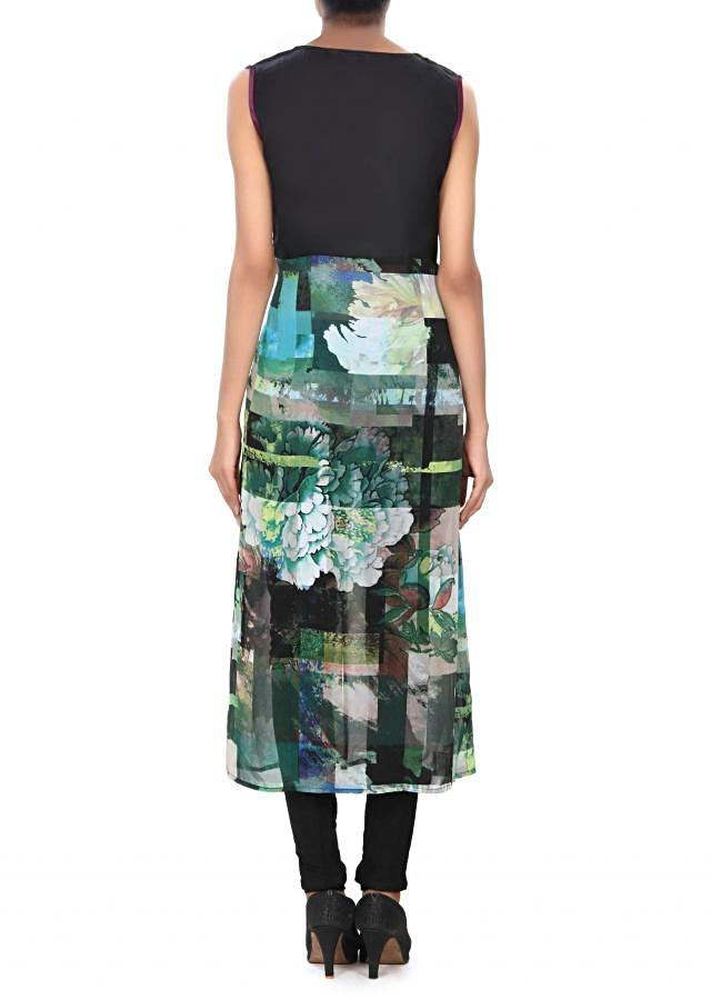 Green and navy blue kurti enhanced in abstract print only on Kalki