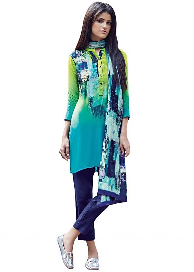 Green and turq shaded kurti in abstract print