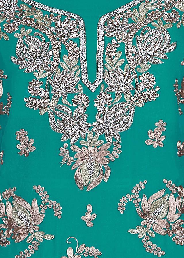 Green and turq shaded unstitched suit adorn in zari embroidery only on Kalki