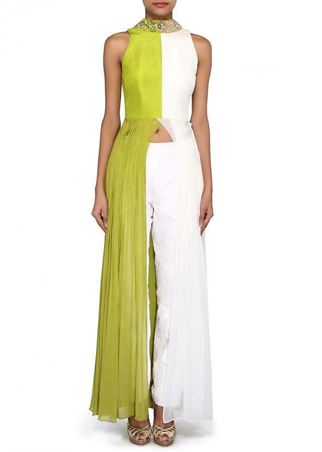 White and Green suit enhanced in embroidered collar and pleats only on Kalki