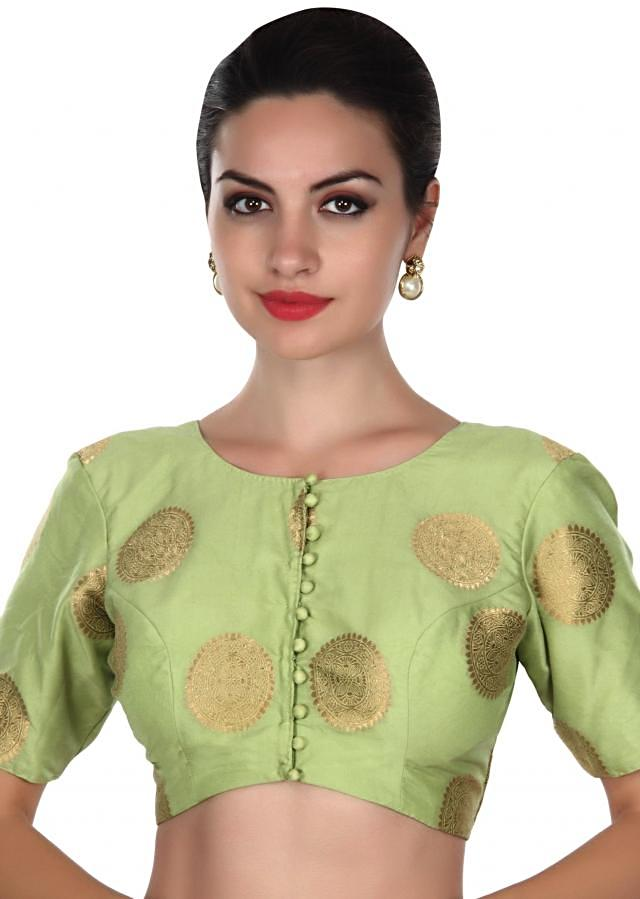 Green blouse in brocade silk only on Kalki