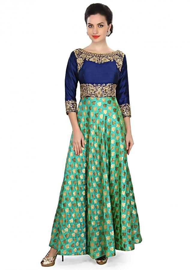 Green dress featuring in zardosi embroidery only on Kalki