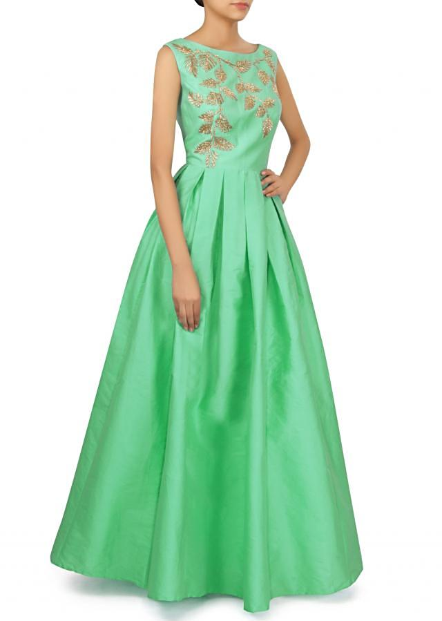 Green dress in kardana embellished bodice only on Kalki