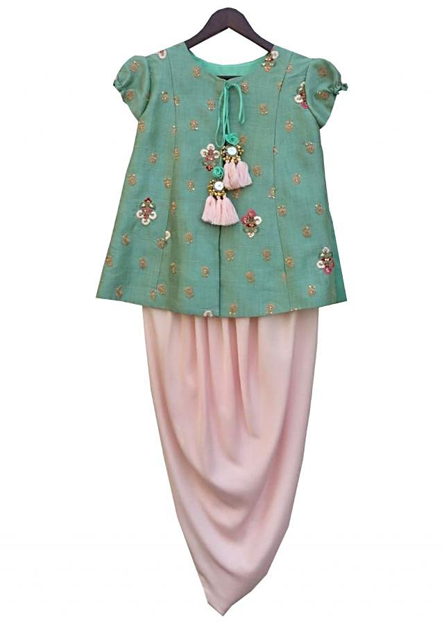 Green Embroidery Top with Peach Dhoti by Fayon Kids