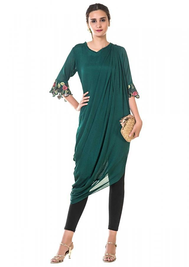 Green Floral Tunic With Asymmetric Drape And Embroidery Work Online - Kalki Fashion