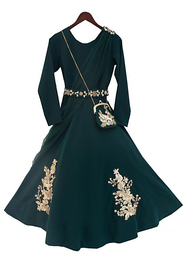 Green Georgette Anarkali Dress with Patches by Fayon Kids