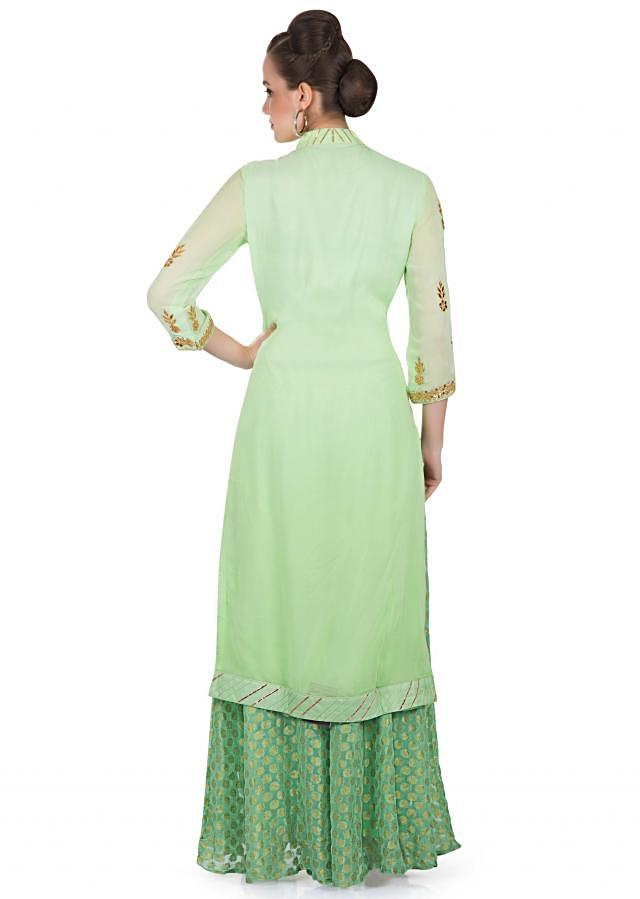 Green Georgette Kameez and Palazzo Pants with Gotta Patch Work only on Kalki