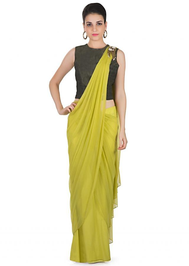 Green Georgette Net Saree with Olive Tussar Silk Blouse Featuring Tie and Dye Design only on Kalki