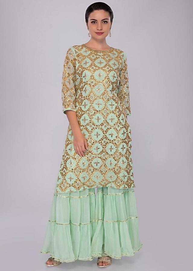 Green Sharara Suit Set In Georgette With Floral And Geometric Motif Embroidery Online - Kalki Fashion
