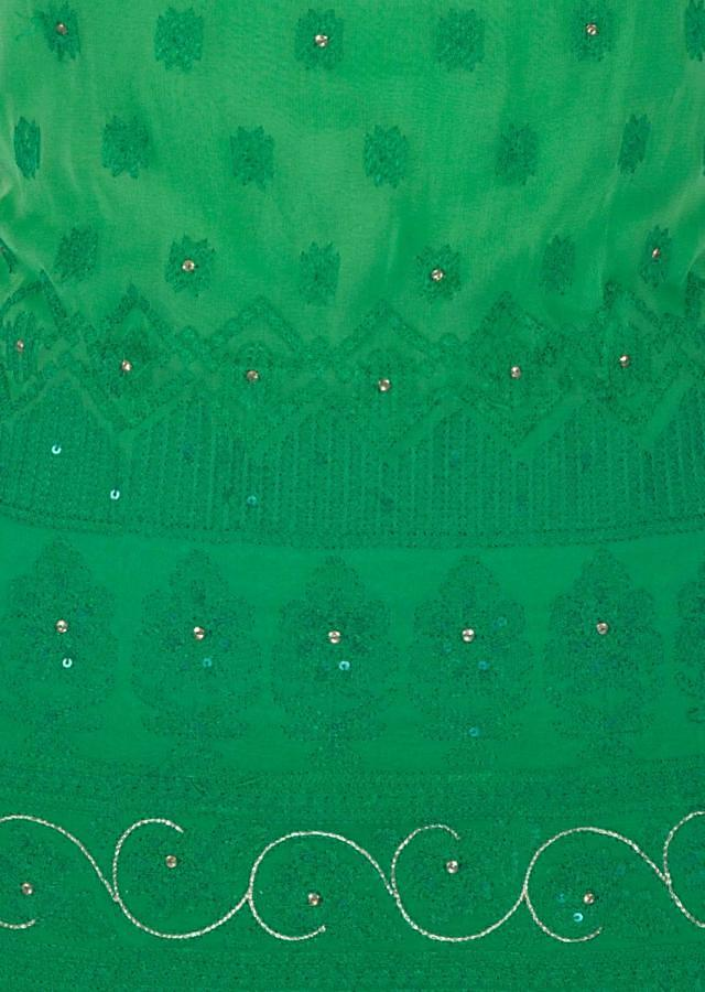 Green georgette unstitched suit adorn with gotta lace only on Kalki