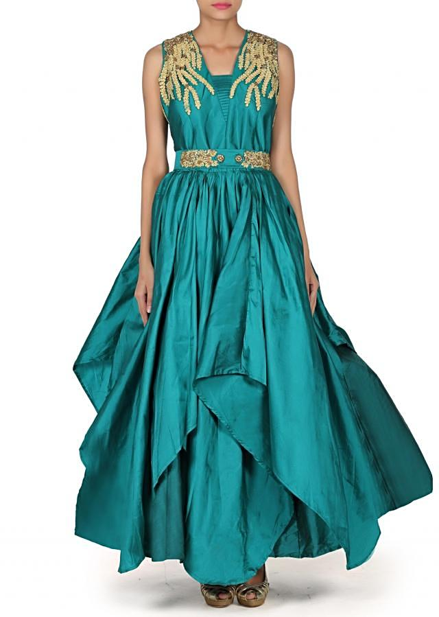 Green gown adorn in embroidered yoke only on Kalki