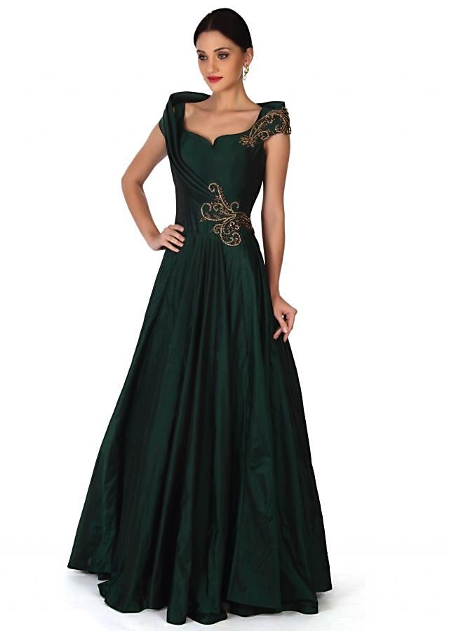 Green gown embellished in embroidered butti only on Kalki