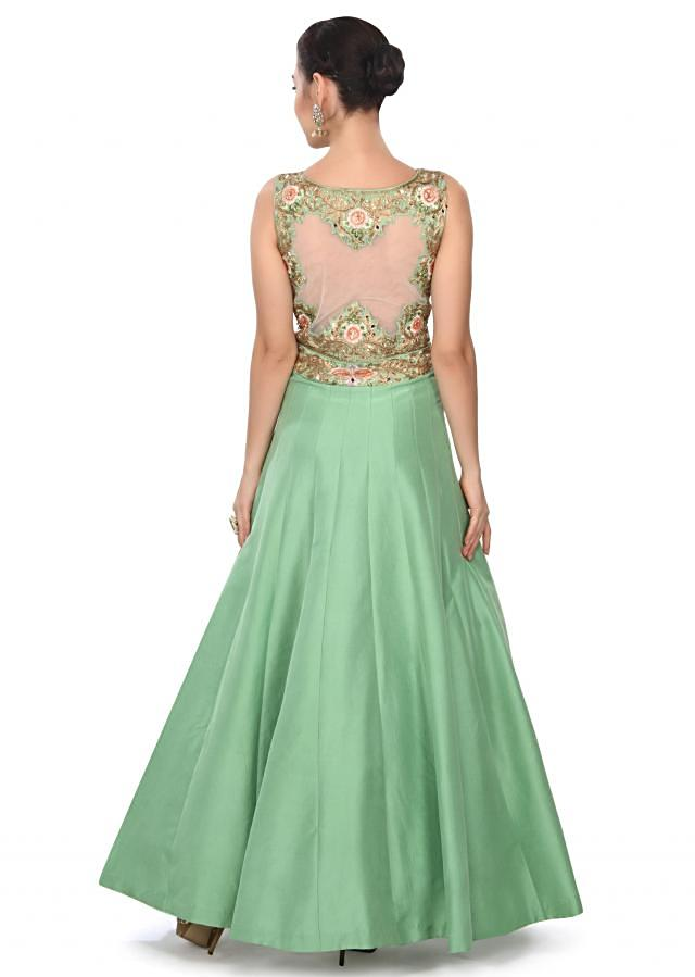 Green gown enhanced in resham and zari embroidery only on Kalki