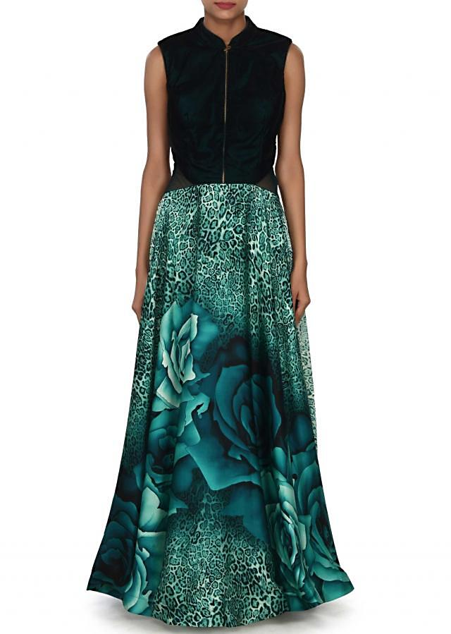 Green gown in animal and rose motif print only on Kalki
