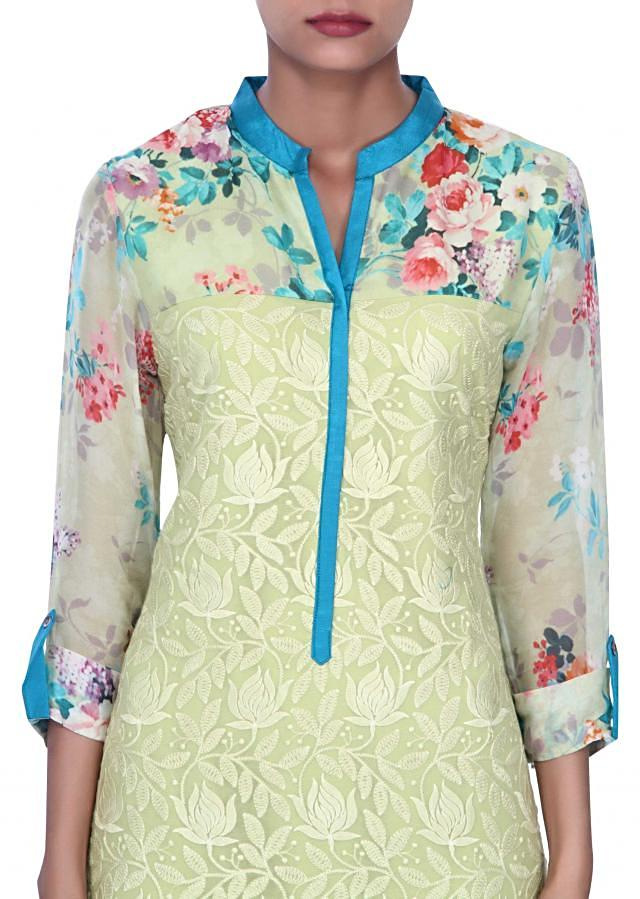 Green kurti adorn in floral print and resham embroidery only on Kalki