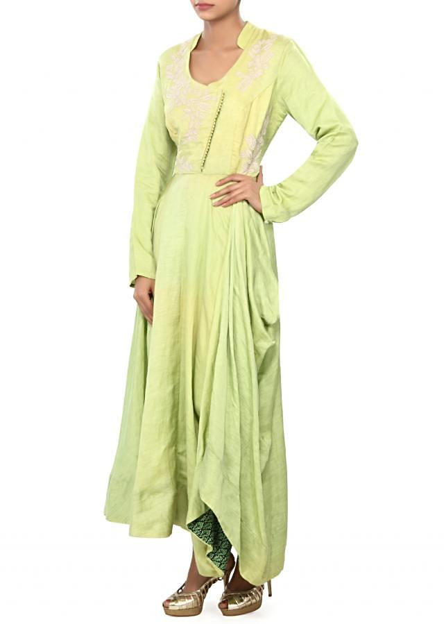 Green kurti embellished in thread embroidery only on Kalki