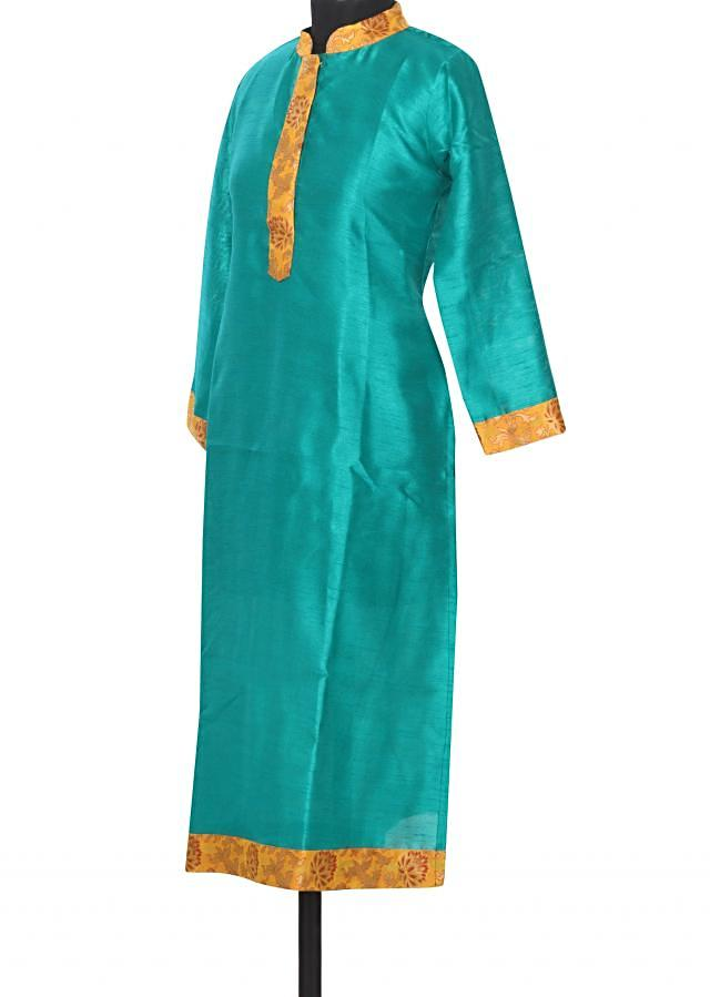 Green kurti featuring with brocade placket only on Kalki