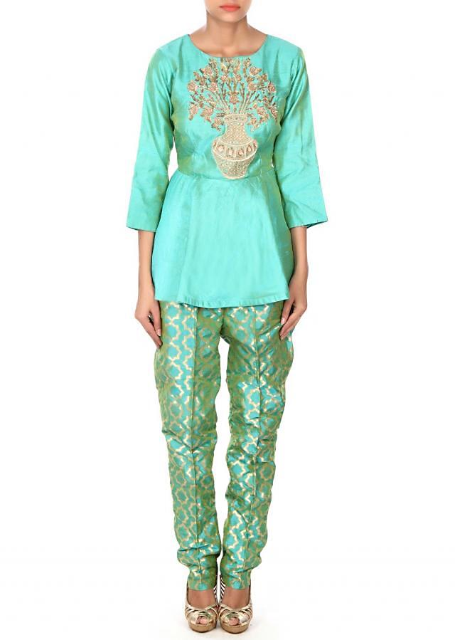 Green pant matched with zardosi embroidered blouse only on Kalki
