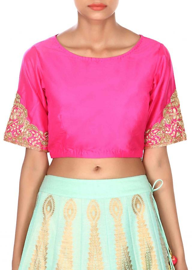 Green lehenga in brocade with hot pink dupatta only on Kalki