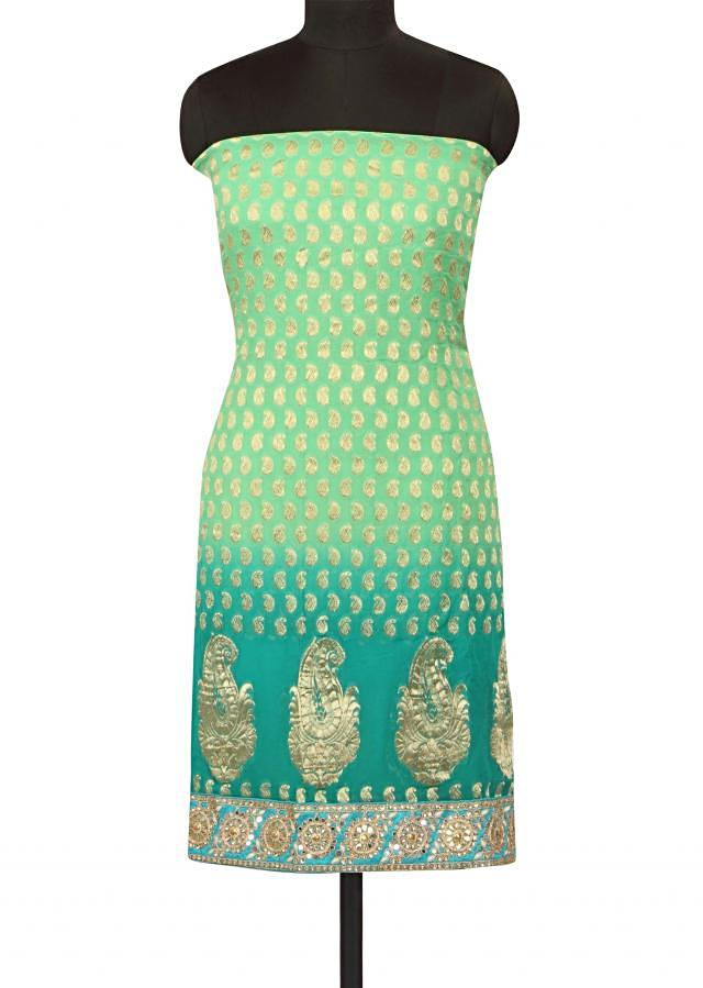 Green omber shaded unstitched suit in gota patch and kundan only on Kalki