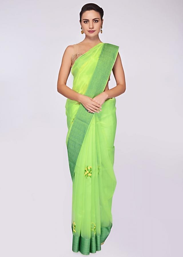 Green Saree In Organza With Resham And French Knot Embroidered Butti Online - Kalki Fashion