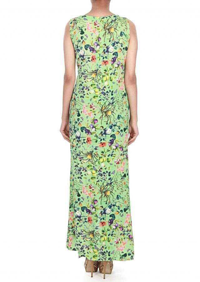 Green overlapping dress in floral print only on Kalki