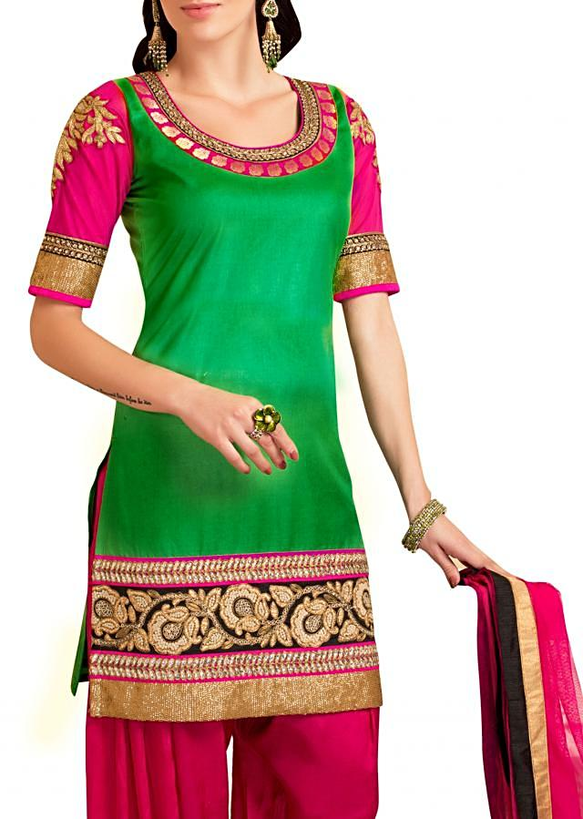Green Patiala suit featuring with kundan embroidery