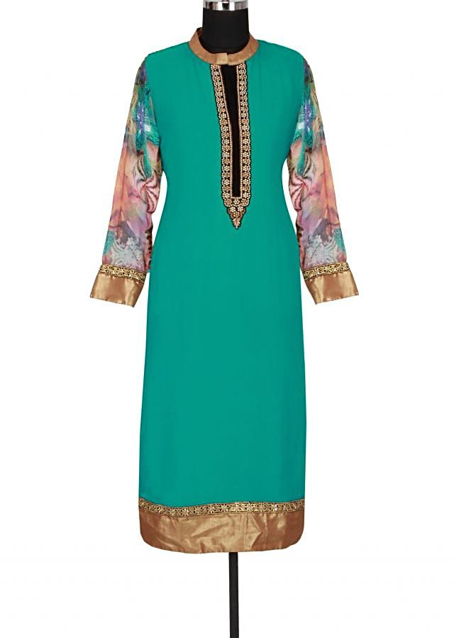 Green printed kurti featuring in georgette only on Kalki