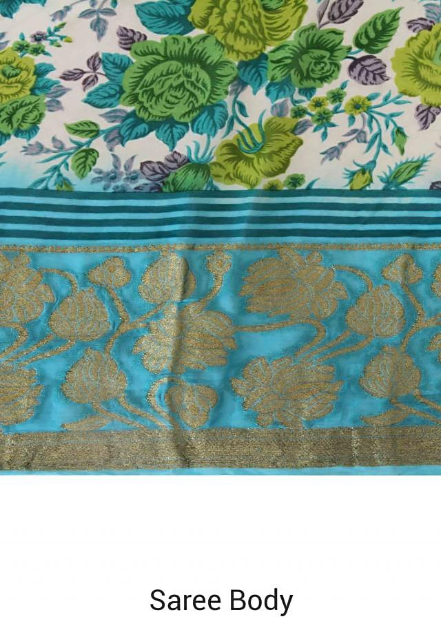 Green saree adorn in floral print and weaved border only on Kalki