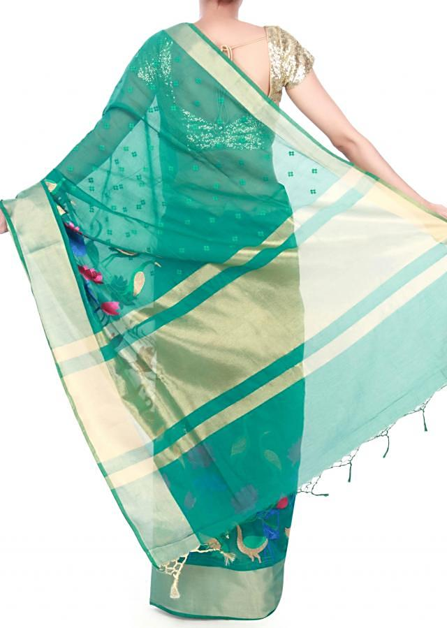 Tropical green saree embellished in floral and bird motif only on Kalki