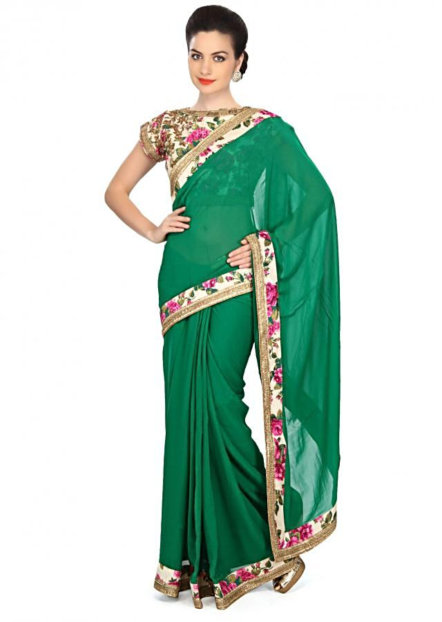 Green saree embellished in kardana embroidery only on Kalki