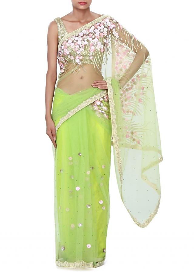 Green saree enhanced in 3D flower only on Kalki