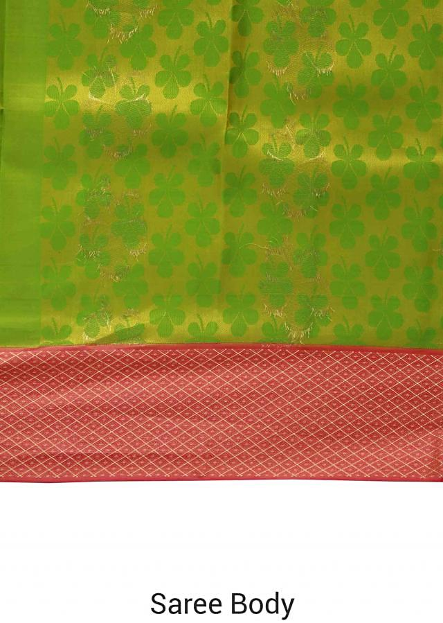 Green saree features with pink brocade border only on Kalki