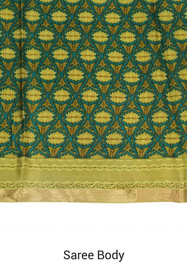 Smoke pine green saree featuring in floral jall print all over only on Kalki