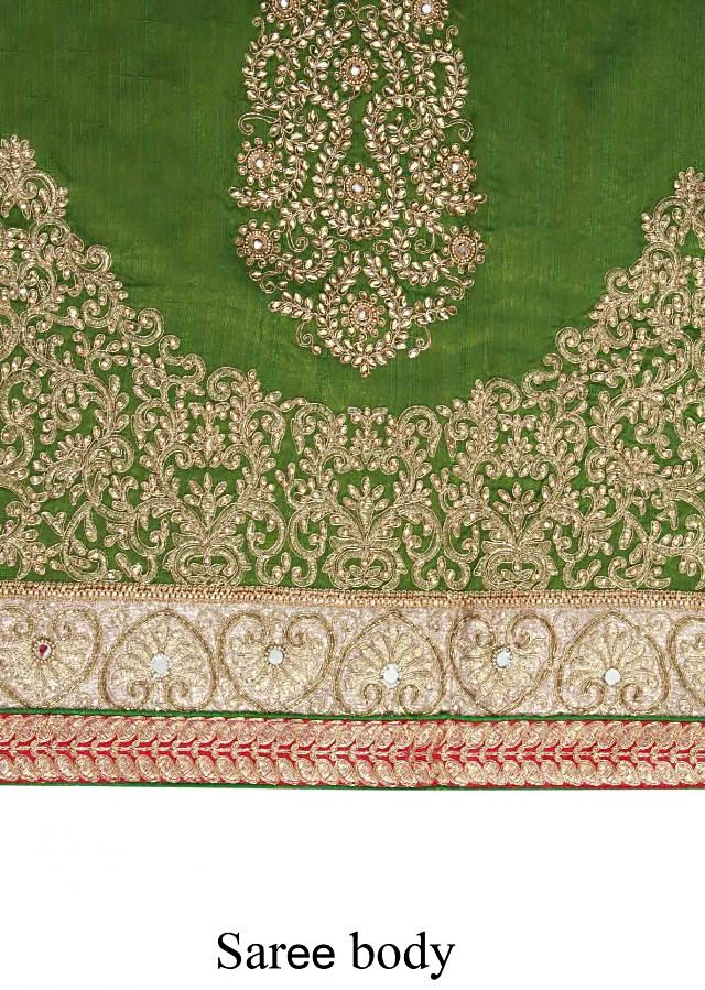 Green saree featuring in kundan embroidered butti only on Kalki