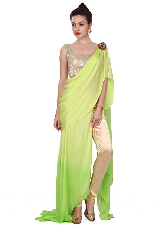 Green saree gown adorn in sequin and cowl drape only on Kalki