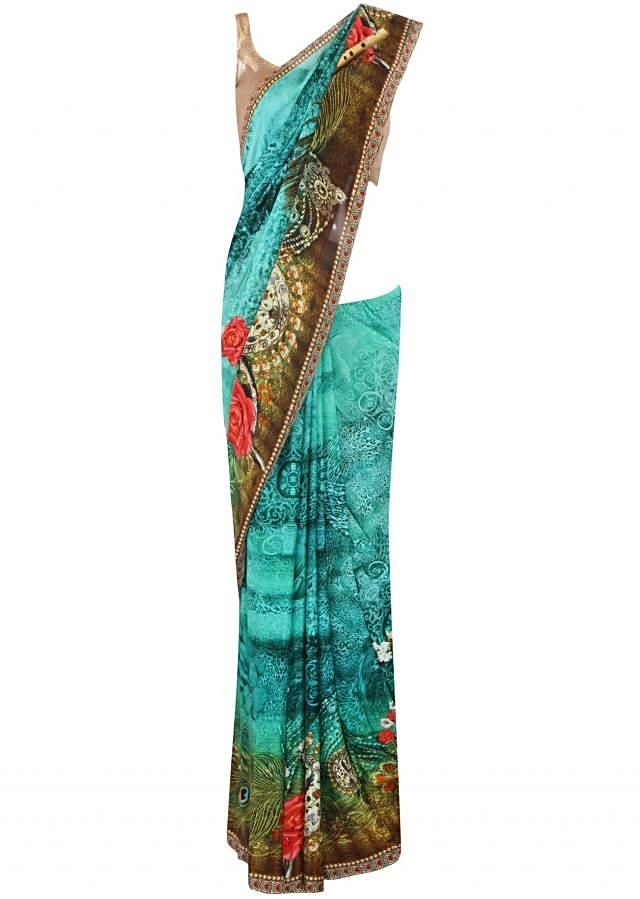 Green saree in floral digital print only on Kalki