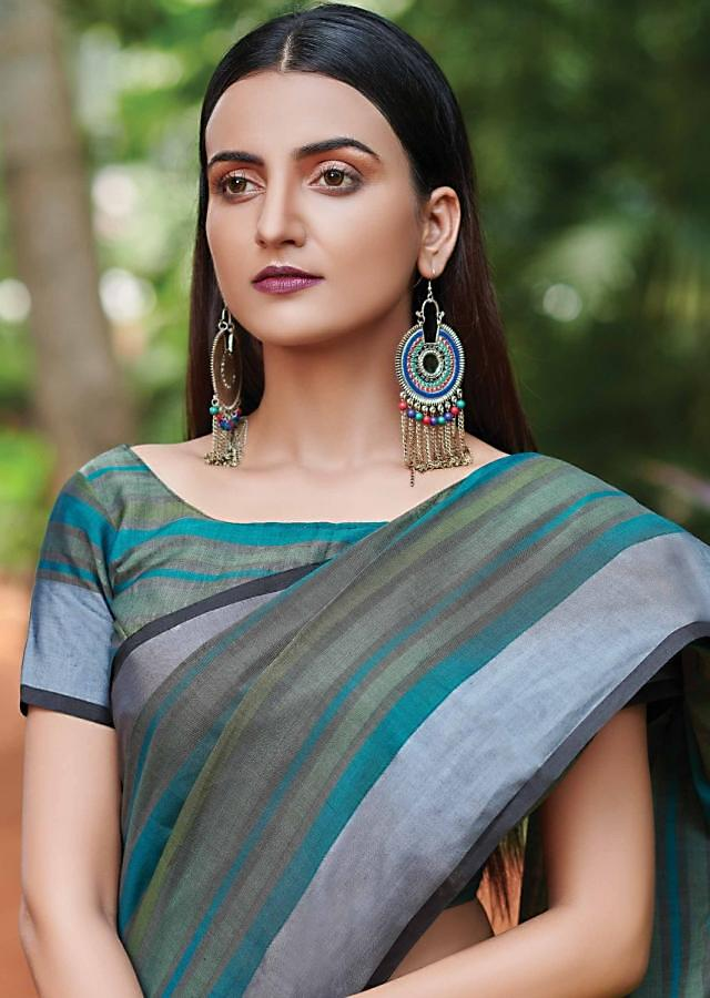 Green Saree In Kota Silk With Striped Pattern In Different Shades Of Green Online - Kalki Fashion