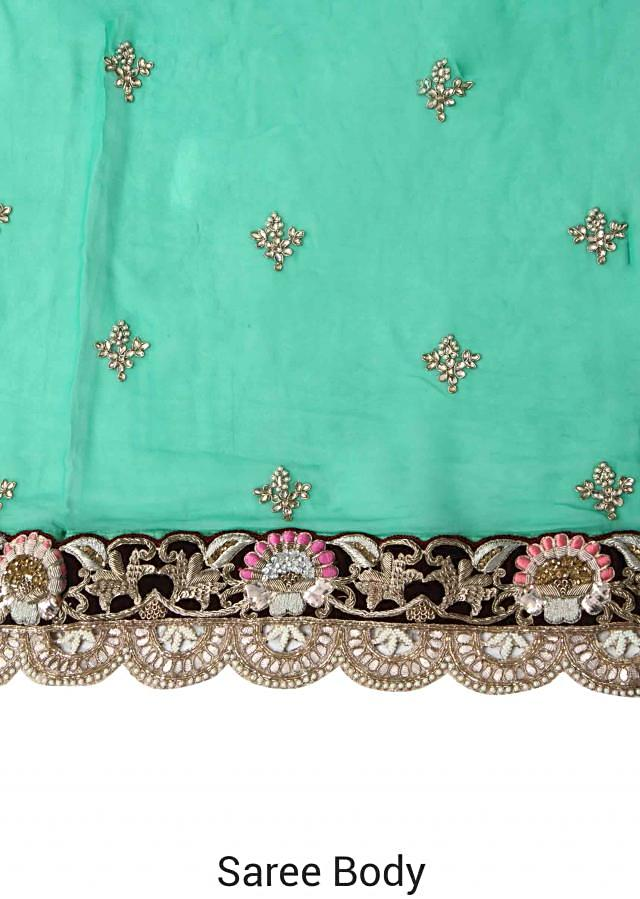 Tropical green saree with embellished border only on Kalki