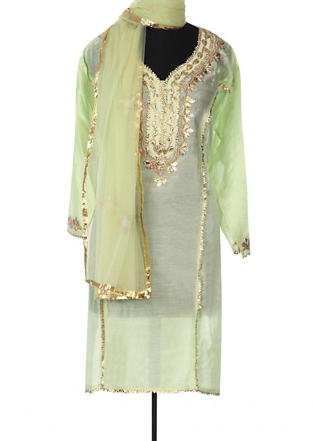 Green semi stitched suit adorn in gotta patch work only on Kalki