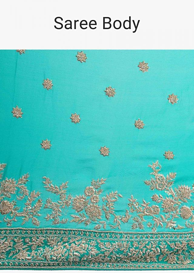 Green Shaded Saree In Georgette With Floral Embroidered Butti And Border Online - Kalki Fashion