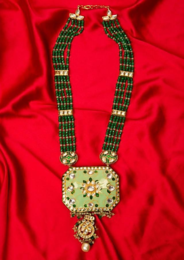 Green shaded multi string necklace with pista green pendant with meenakari work