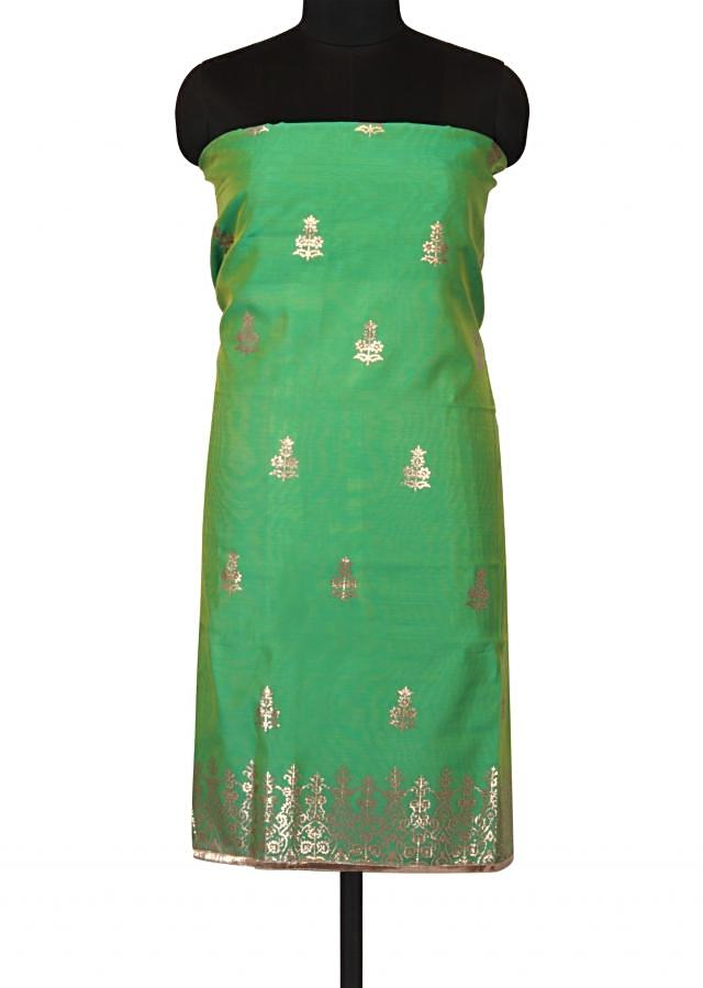 Green shaded unstitched suit in gotta applique work only on Kalki