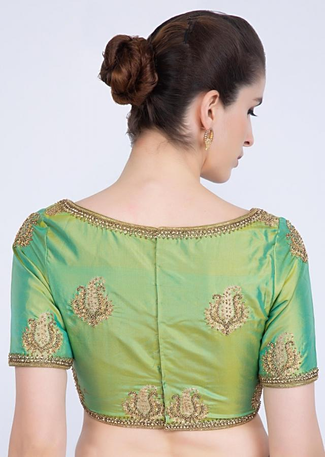 Green silk blouse with embroidered border  and paisley butti only on kalki
