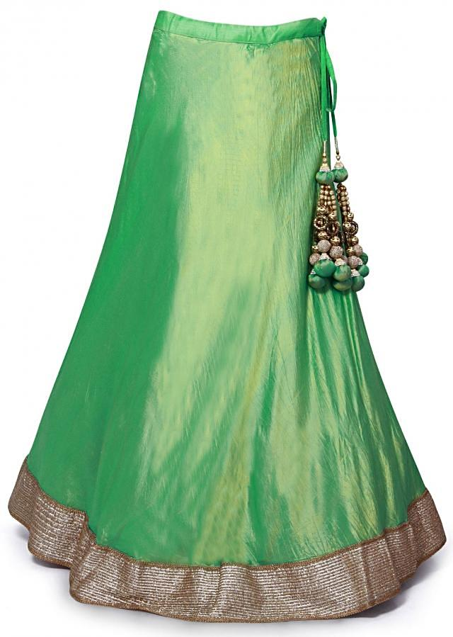 Green silk lehenga featuring with coral embroidered blouse only on Kalki