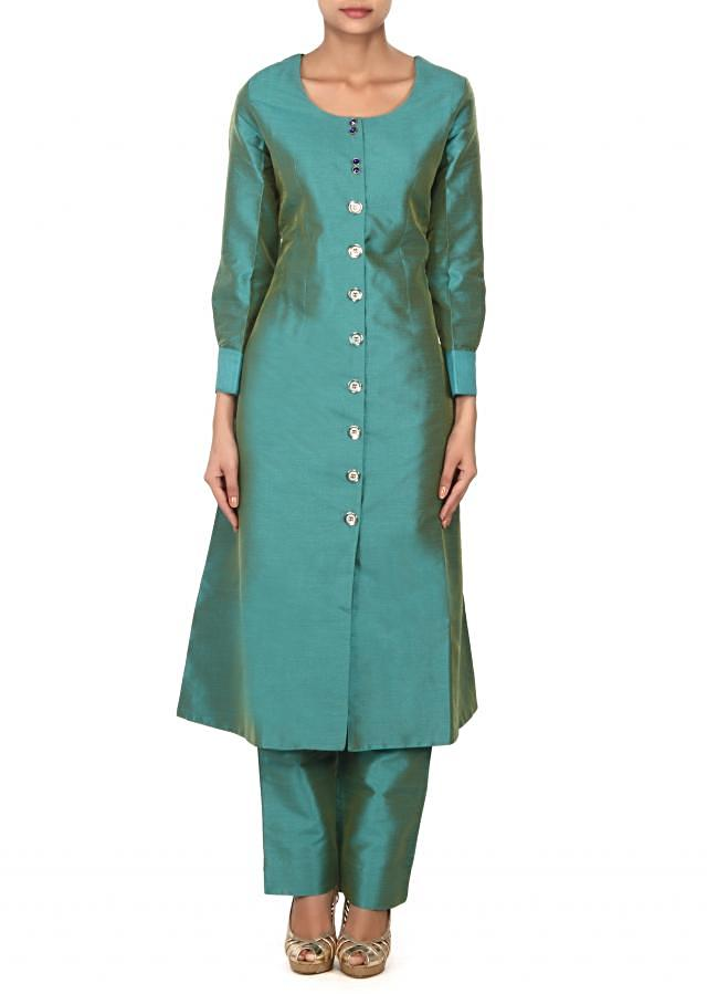 Green silk suit matched with purple brocade jacket only on Kalki