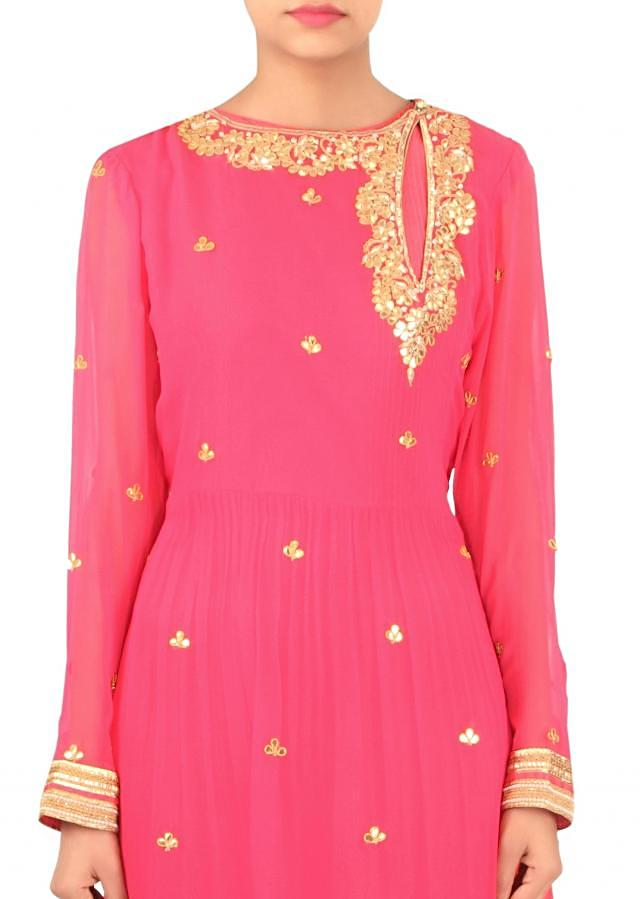 Pink straight suit adorn in gotta patch only on Kalki