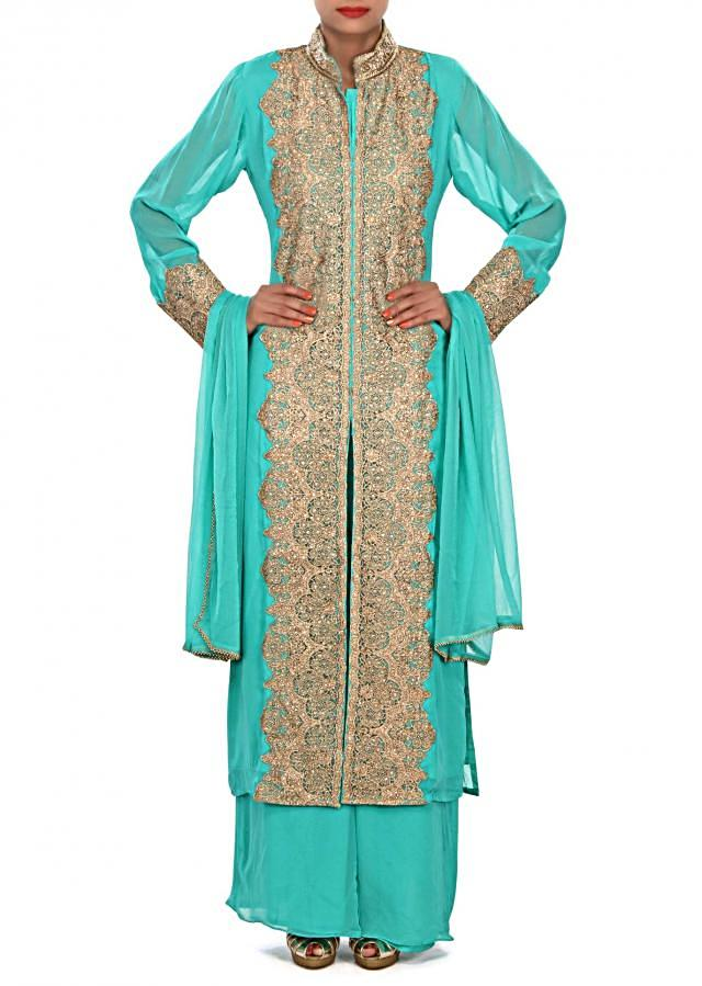 Green straight suit embellished in zari and kundan embroidery only on Kalki