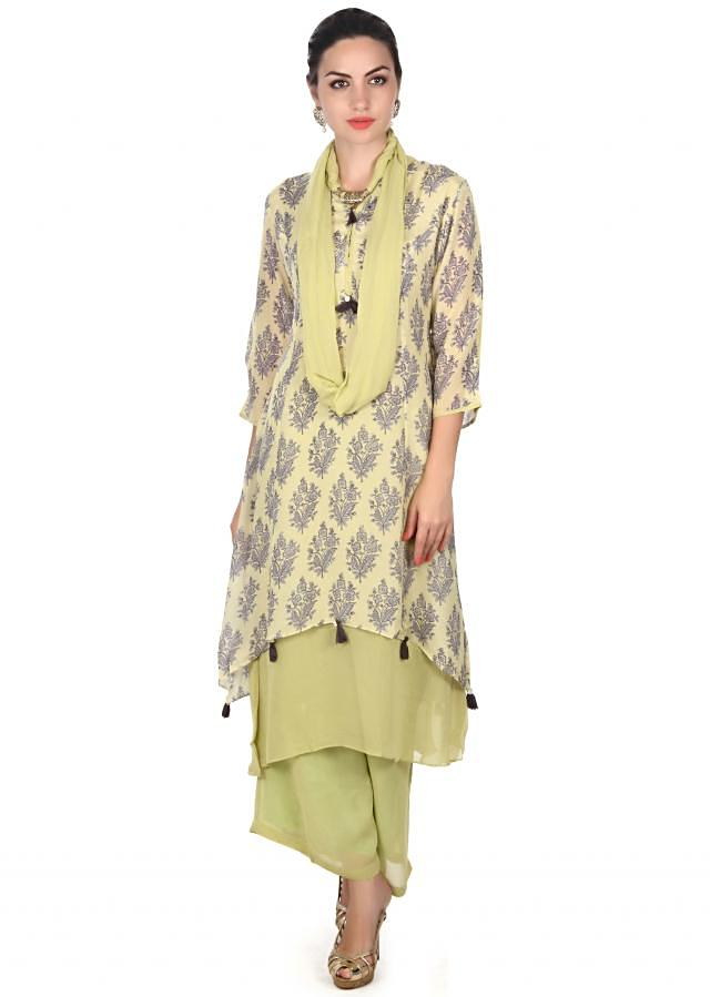 Green straight suit in floral butti with palazzo pant only on Kalki