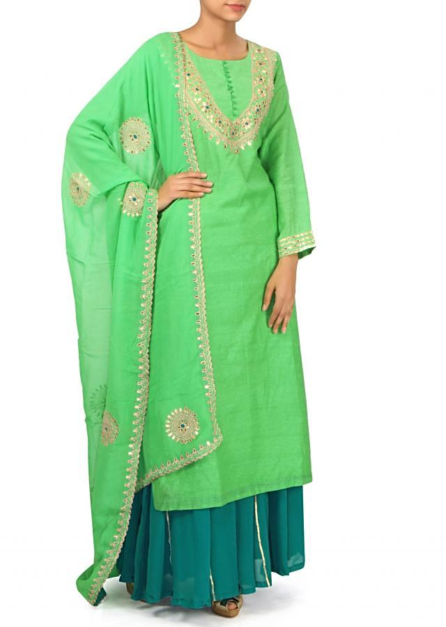 Green straight suit in gotta patch embroidery only on Kalki